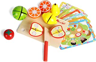 ACOOLTOY Fruit Cutting Pretend Play Cutting Fruit Board Games with Wooden Vegetable Cutters Food Set for Kids