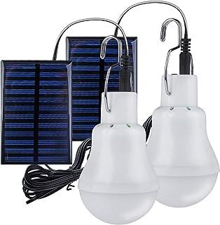 TechKen - 2 bombillas solares LED, portátil, 3 W, 3 m, cable de carga, panel solar, iluminación para camping, senderismo, pesca, casa de jardín