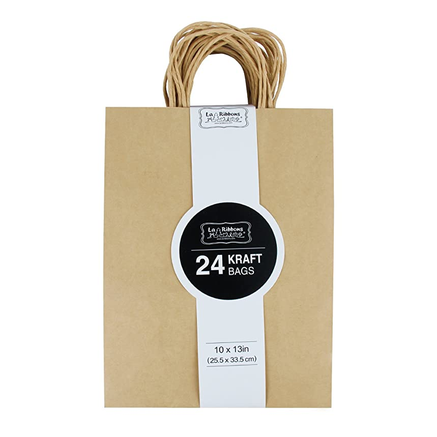LaRibbons Gift Bulk with Handles Kraft Paper Bags, 10
