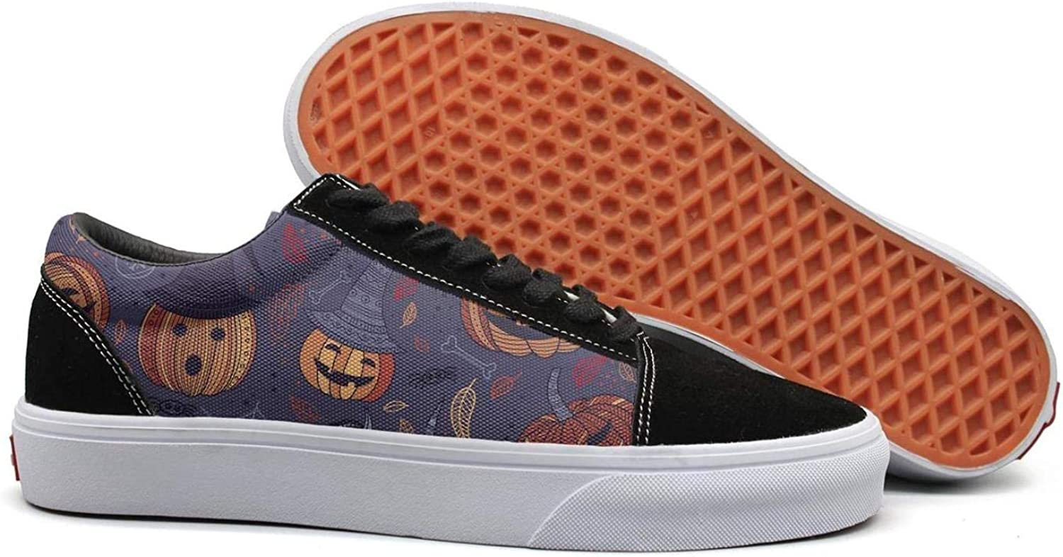 Vintage Halloween Pumpkin Womens Canvas Upper Sneakers Lace up Jogger Fashion Loafer Canvas shoes