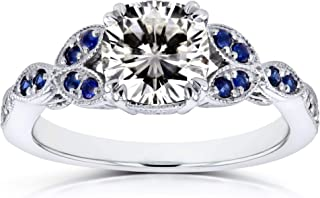 Kobelli Vintage Floral Cushion Moissanite (HI) with Sapphire and Diamond Accents Engagement Ring 1 1/3 Carat TGW in 14k White Gold