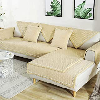 Deep Dream Sectional Sofa Covers, Velvet Sofa Slipcover Furniture Protector Anti-Slip Couch Covers for Dogs Cats Kids 36 x 70 Inch - Beige (Sold by Piece/Not All Set)