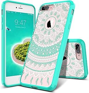 SmartLegend Case for iPhone 8 Plus & iPhone 7 Plus, Girls Women Slim Anti-Slip Clear Soft TPU Bumper + Hard PC Back Shockproof Full-Body Protective Phone Cover for iPhone 7 Plus/8 Plus- Mint Mandala