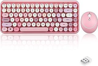 Perixx PERIDUO-713 Wireless Mini Keyboard and Mouse Combo, Retro Round Key Caps, Pastel Pink, US English Layout