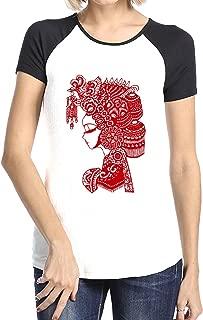 Chinese Paper-Cut Art Woman Raglan Short Sleeves Tee Shirts For Womens