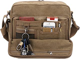 Classic Multifunctional Mens Canvas Messenger Bag Crossbody Working Field Bag