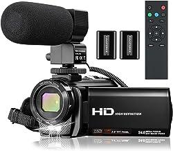 دوربین فیلمبرداری دوربین فیلمبرداری با میکروفون ، VideoSky FHD 1080P 30FPS 24MP Vlogging YouTube Cameras 16X Digital Zoom دوربین فیلمبرداری ضبط وب کم با کنترل از راه دور ، صفحه نمایش چرخشی 270 درجه 3.0 اینچ