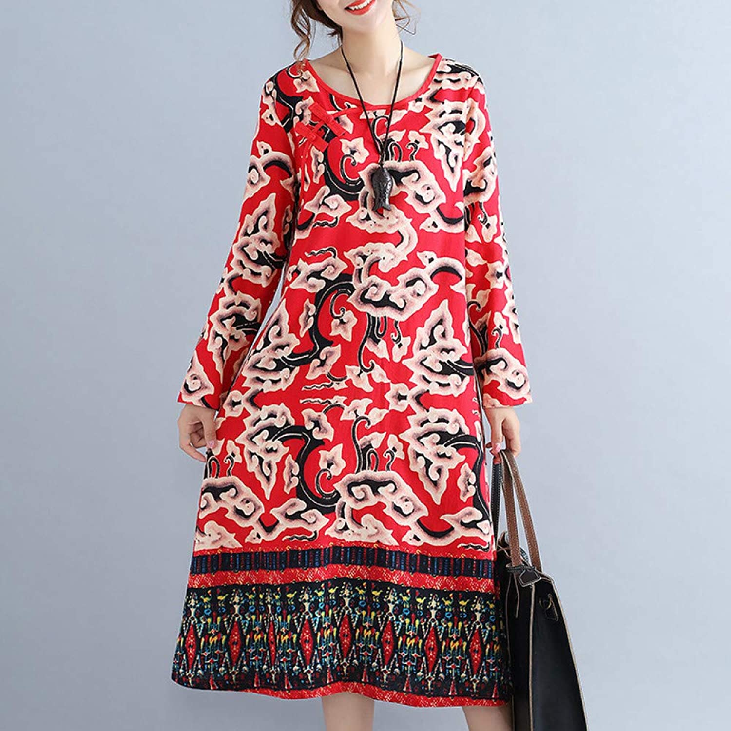 Cxlyq Dresses Vintage Disc Buckle Cotton and Linen Large Size Long Sleeve Long A Style Dress