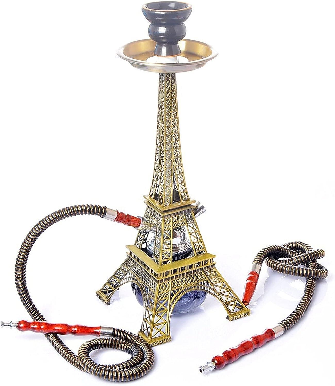 SAMUR Cachimba Acrílica Torre Eiffel, Juego de Accesorios para Cachimba con 2 Mangueras Y Cuenco de Cerámica, Lavable, para Bares, KTV