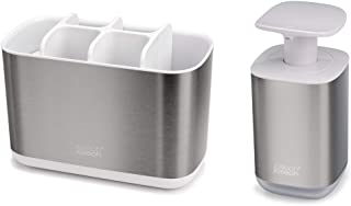 Joseph Joseph 70551 Bathroom Essentials 2-Piece Sink Accessories Set, Presto Soap Dispenser and Large EasyStore Toothbrush Caddy, Stainless-Steel