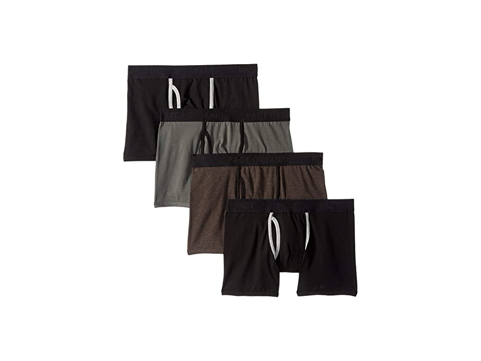 PACT Everyday Organic Cotton Boxer Brief 4-Pack (Charcoal Heather/Moss/Black) Men