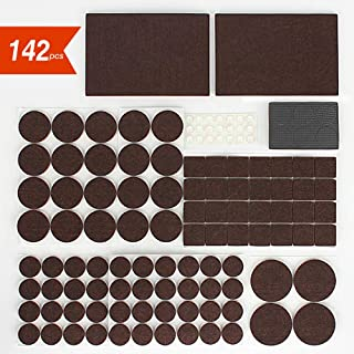 Furniture Pads BITIWEND Self Adhesive Furniture Felt Pads 142pcs-Furniture Protect Pads for Hard Surface from Scratches or Noise, Wood Floor Protector,6 Sizes Packed in Resealable Bag,Brown