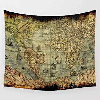 BAOQIN Tapiz Vintage Old World Map Wall Tapestry Hanging Tapestries Wall Art for Living Room Bedroom Dorm Decor 80 X 60 Inch