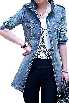 63578848210 YACUN Women s Open Front Long Denim Jeans Jacket Coat