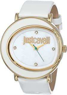 Just Cavalli Women's R7251186506 Lac Gold Ion-Plated Coated Stainless Steel Swarovski Crystal White Leather Watch