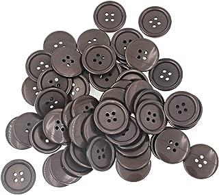 1 pulgada (25 mm) Costura de botones de resina de espalda plana para manualidades DIY Paquete marrón de 50 piezas Leekayer