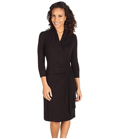 Karen Kane Cascade Wrap Dress (Black) Women