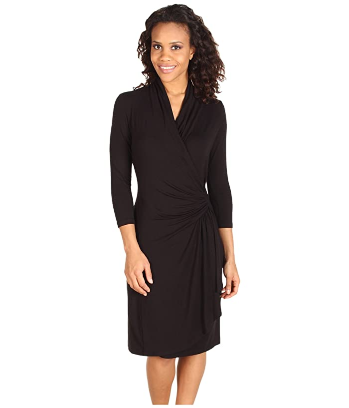 Karen Kane Cascade Wrap Dress (Black) Women's Dress