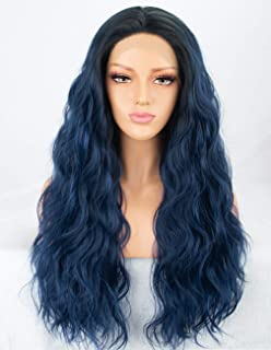 Persephone Navy Blue Lace Front Wig Wavy Glueless Long Synthetic Wigs Ombre Blue for Women 2 Tones Hair Replacement Wigs Heat Resistant