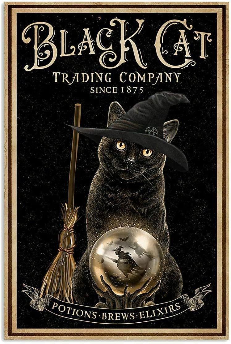 Vintage Halloween Cat Trading Company Metal Tin Poster Indoor & Outdoor Home Bar Coffee Kitchen Wall Decor Halloween Painting Metal Plate 8x12 inch