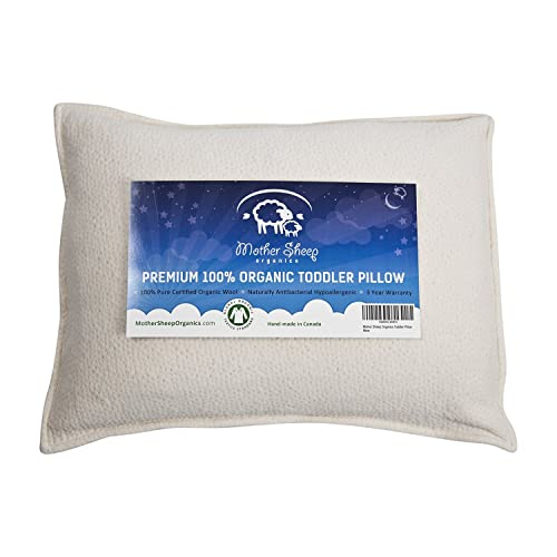 Mother Sheep Organics Organic Wool Toddler and Kids Pillow, Hypoallergenic, 14x19