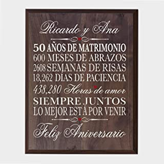 LifeSong Milestones Personalized Spanish 50th Wedding Anniversary Wall Plaque Gift for her, him, Husband