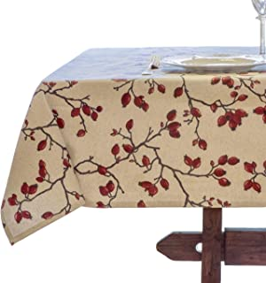 Amelie Michel Wipe-Clean French Tablecloth in Eglantier Branch Natural | Authentic French Acrylic-Coated 100% Cotton Fabric | Easy Care [60