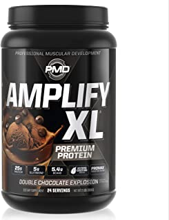 PMD Sports Amplify XL Superior Protein Supplement - Glutamine and Whey Protein Matrix with Superfood for Muscle, Strength and Recovery - Double Chocolate Explosion - 24 Servings