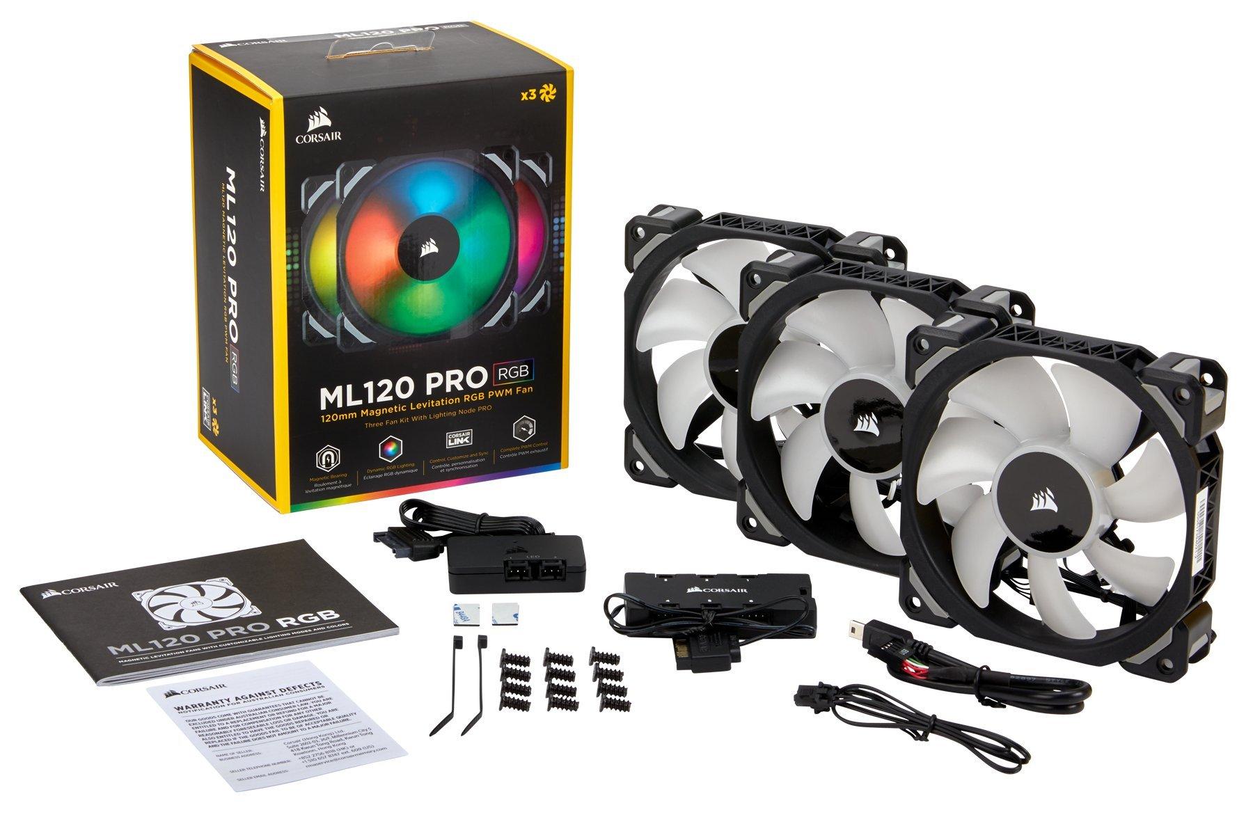 Corsair ML120 Pro - Ventilador de levitación magnética, 120 mm premium, con LED RGB, paquete de 3 ventiladores con Lighting Node PRO (CO-9050076-WW): Amazon.es: Informática