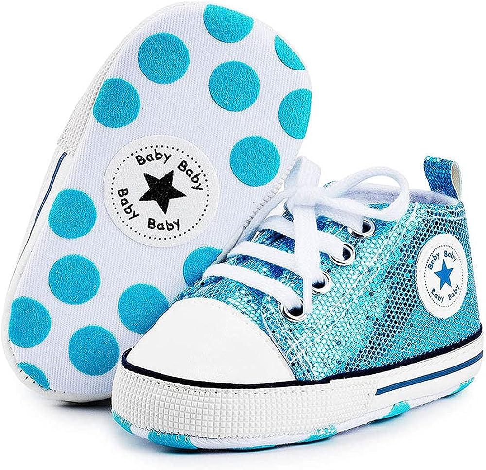 Baby Boys Girls Star High Top Sneaker Soft Anti-Slip Sole Newborn Infant First Walkers Canvas Denim Shoes (12cm, B-Sequins Blue, 6-12 Months)