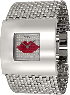 Moog Paris Love Women's Watch with Silver & Red Lip Shape Dial, Silver Stainless Steel Strap & Swarovski Elements - M44208F-004