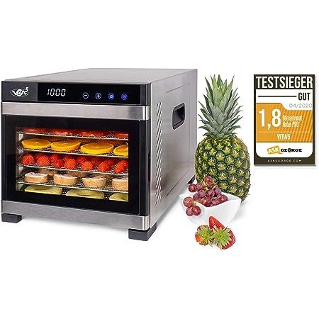 Deshydrateur Alimentaire Inox VITA5 • Déshydrateur Alimentaire 6 Plateaux • Desydratateur avec Minuteur (24H) • Deshydrateur de fruit et legumes Température réglable (35 à 75°C) + 1×feuilles à mailles
