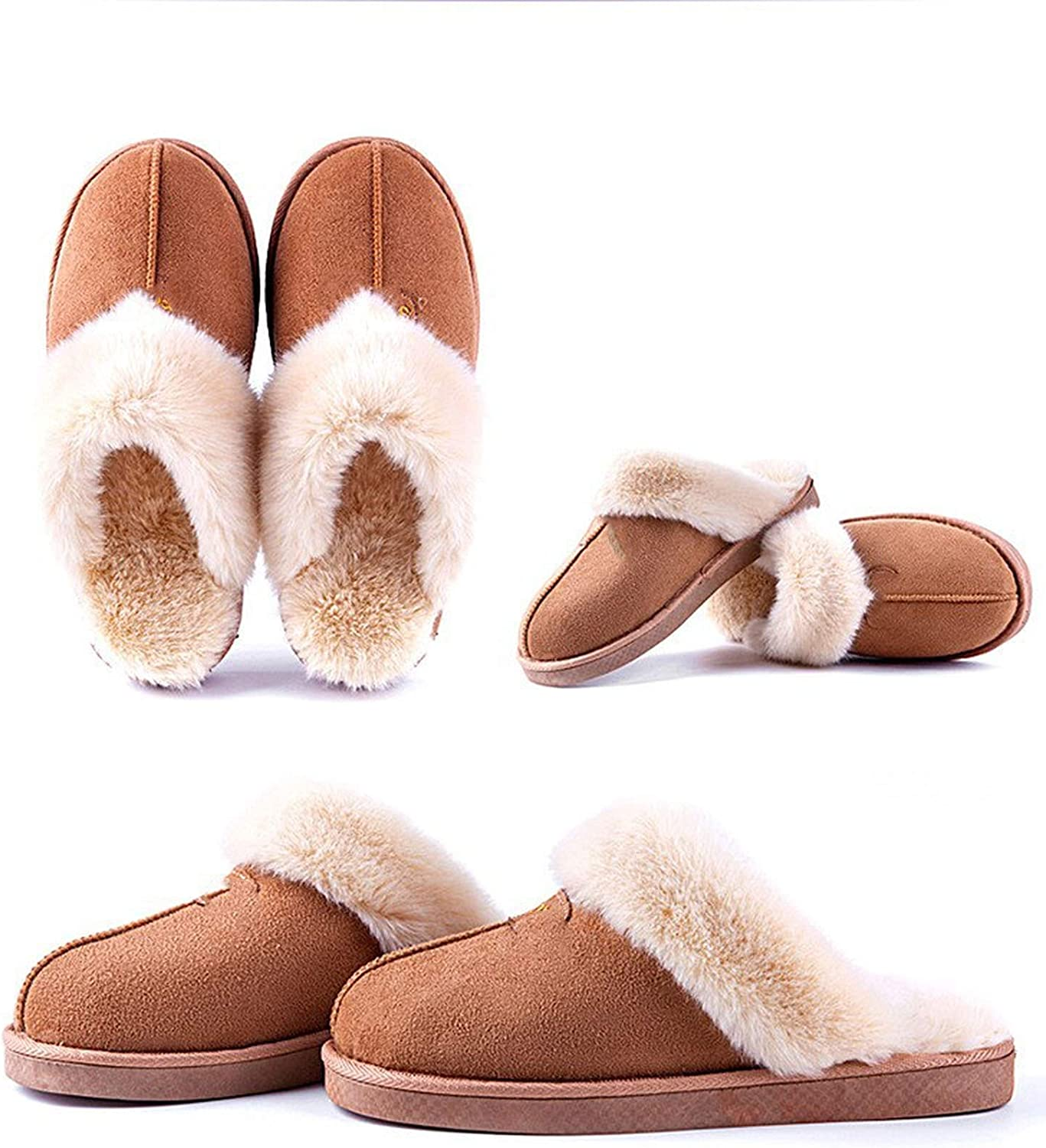 Can't be satisfied Women Winter Home Slippers Faux Suede Non-Slip Soft Warm House Slippers Indoor Bedroom Couples,Coffee,39