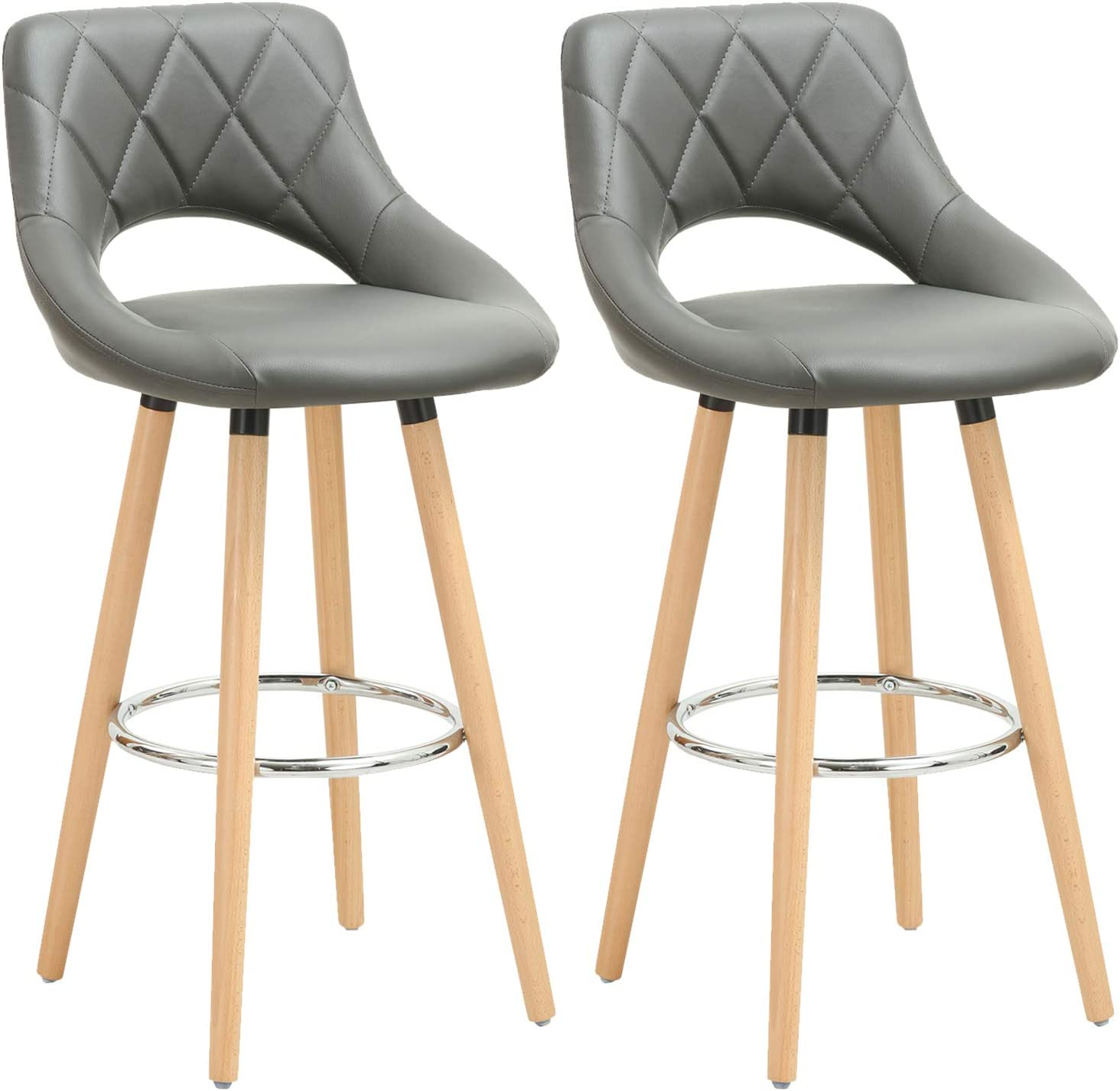 WOLTU Breakfast Kitchen Counter Bar Stools Set of 9 pcs Faux Leather Seat  Bar Chairs Wood Legs Barstools Grey High Stools
