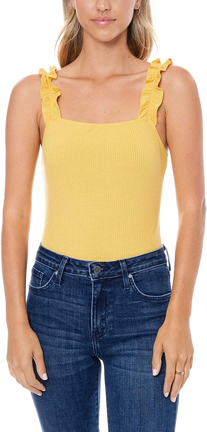 Elodie Women's Sleeveless Tank Bodysuit Casual Top Knit Frilly Strap
