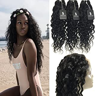 RISSING Brzailian Hair Water Wave Unprocessed Hair 8A Natural Color Pre Plucked 360 Free Part Lace Frontal Closure with Mixed Length 3 Bundles Wet and Wavy Hair Weft Extensions (22, 24, 26, 20 inch)