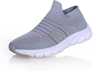 Happyqidayll Women's Walking Sock Shoes Lightweight Mesh Slip-on- Breathable Yoga Sneakers