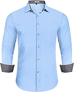 Aibrou Camisas de Hombre Lino Camisa Hombre Manga Larga de Algodón Casual Verano Otoño 2019