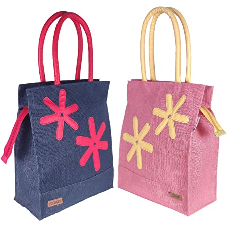 Foonty Exclusive Star Daily Use Jute Lunch Bags(Pack of 2,Multicolor,FFFWB6013F)