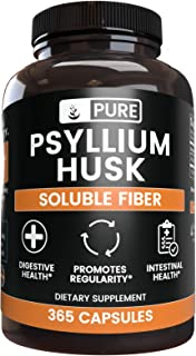 Natural Psyllium Husk, 365 Capsules, 3 Month Supply, No Stearates or Rice Fillers, Gluten-Free, Made in USA, 1575 mg Poten...