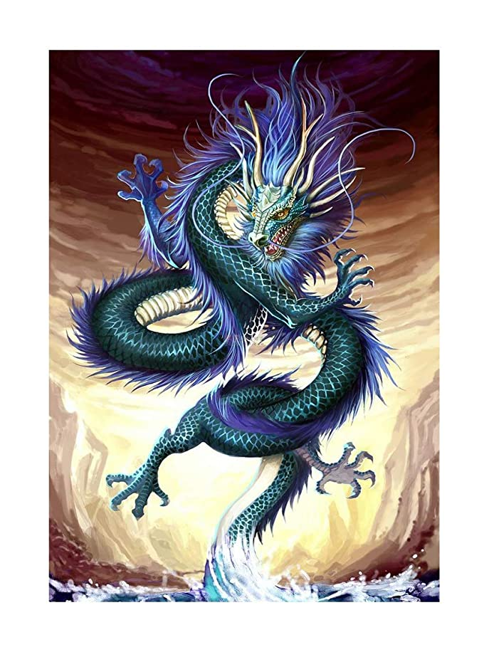 SuperDecor 5D Diamond Painting Kits Full Drill Diamond Embroidery Painting Art DIY by Number Kits Dragon Comes Out of The Sea for Home Wall Decor Green