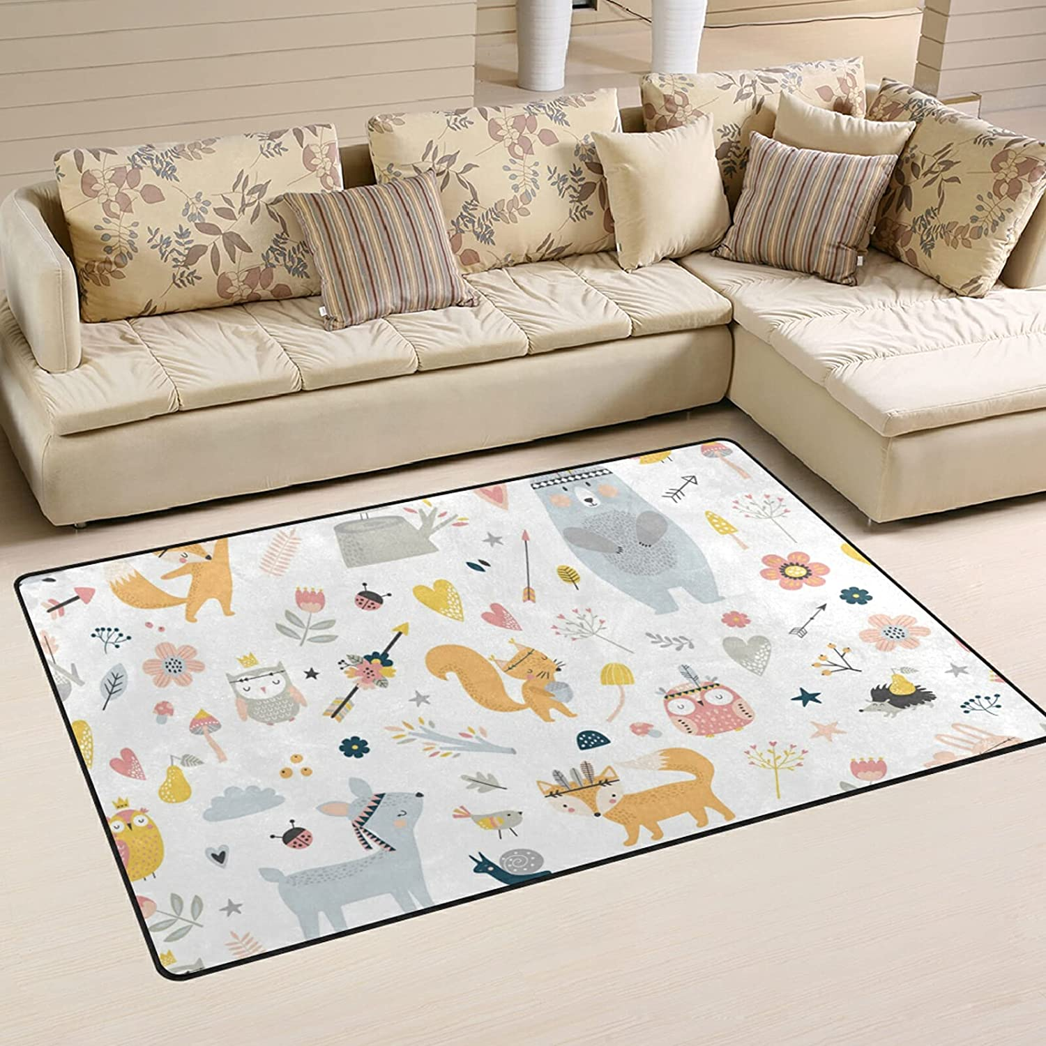 Forest Cute Animals 70% OFF Outlet Large Soft Area Mat Playmat Product Rug Nursery Rugs