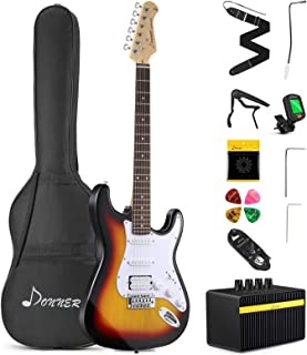 Donner DST-1S جامد 39 اینچ کیت گیتار الکتریک Sunburst بسته با تقویت کننده، کیسه، کاپو، تسمه، رشته، تیونر، کابل و انتخاب