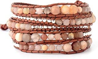 Tea language Frosted Sunstone Silver Plated Beads Leather Strap Bracelets Native Inspired Bohemia Wrap Bracelet