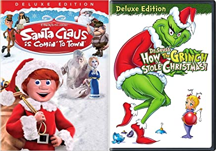 Counting down the days until Christmas Movie Pack Santa Clause is Coming to Town Animated Classic + Dr. Seuss Deluxe How The Grinch Stole Christmas! Original Cartoon DVD 2 Pack Holiday Cheer!