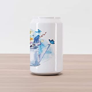 Ambesonne Daffodil Cola Can Shape Piggy Bank, Summer Bouquet with Violets Puss-Willows Butterflies in Old Fashion Watering Can, Ceramic Cola Shaped Coin Box Money Bank for Cash Saving, Multicolor