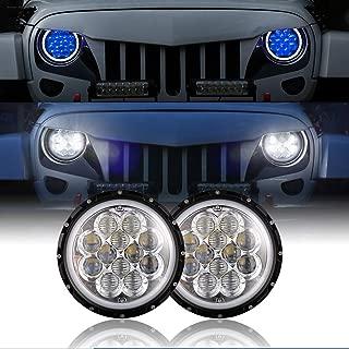 Hooke Road 7 inch LED Headlights w/Blue DRL Halo Angel Eyes for 1997-2018 Jeep Wrangler TJ JK & Unlimited(Pair)