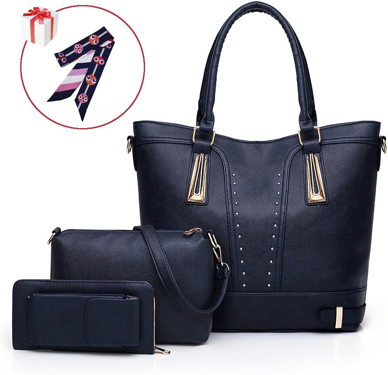 Belle Heure Women's big tote bag Shoulder Bag Purse Wallet 3pcs set candy color