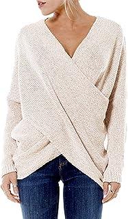 YOINS Jersey Punto Mujer Invierno Suéter Cuello en V Jerséis Manga Larga Camiseta Basico Suelto Cruzado Jerseys Camisa Top...