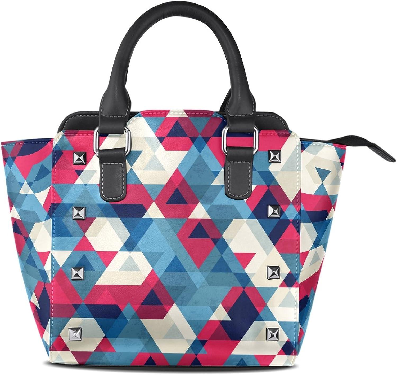 My Little Nest Women's Top Handle Satchel Handbag Vintage Triangle Ladies PU Leather Shoulder Bag Crossbody Bag